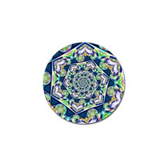 Power Spiral Polygon Blue Green White Golf Ball Marker by EDDArt