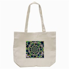 Power Spiral Polygon Blue Green White Tote Bag (cream) by EDDArt