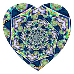 Power Spiral Polygon Blue Green White Jigsaw Puzzle (heart) by EDDArt