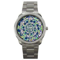 Power Spiral Polygon Blue Green White Sport Metal Watch by EDDArt