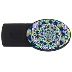 Power Spiral Polygon Blue Green White Usb Flash Drive Oval (4 Gb)  by EDDArt
