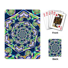 Power Spiral Polygon Blue Green White Playing Card by EDDArt