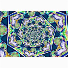 Power Spiral Polygon Blue Green White Collage Prints by EDDArt