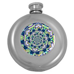 Power Spiral Polygon Blue Green White Round Hip Flask (5 Oz) by EDDArt