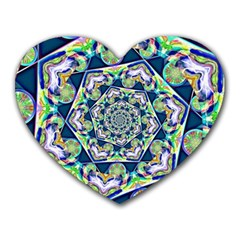 Power Spiral Polygon Blue Green White Heart Mousepads by EDDArt