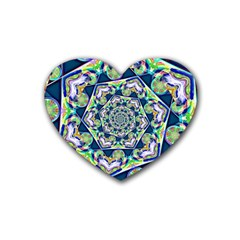 Power Spiral Polygon Blue Green White Rubber Coaster (heart)  by EDDArt