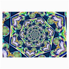 Power Spiral Polygon Blue Green White Large Glasses Cloth (2 Side) by EDDArt