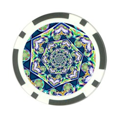 Power Spiral Polygon Blue Green White Poker Chip Card Guards by EDDArt