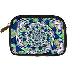 Power Spiral Polygon Blue Green White Digital Camera Cases by EDDArt