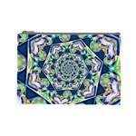 Power Spiral Polygon Blue Green White Cosmetic Bag (Large)  Front