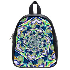 Power Spiral Polygon Blue Green White School Bags (small)  by EDDArt