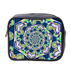 Power Spiral Polygon Blue Green White Mini Toiletries Bag 2 Side by EDDArt