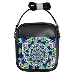 Power Spiral Polygon Blue Green White Girls Sling Bags by EDDArt