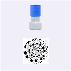 Power Spiral Polygon Blue Green White Rubber Round Stamps (small) by EDDArt