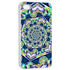 Power Spiral Polygon Blue Green White Apple Iphone 4/4s Seamless Case (white) by EDDArt