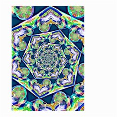 Power Spiral Polygon Blue Green White Small Garden Flag (two Sides) by EDDArt