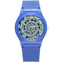 Power Spiral Polygon Blue Green White Round Plastic Sport Watch (s) by EDDArt