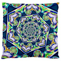Power Spiral Polygon Blue Green White Large Cushion Case (two Sides) by EDDArt