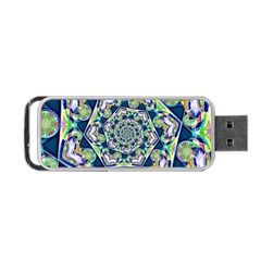 Power Spiral Polygon Blue Green White Portable Usb Flash (one Side) by EDDArt