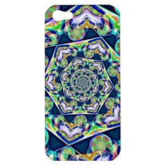 Power Spiral Polygon Blue Green White Apple Iphone 5 Hardshell Case by EDDArt