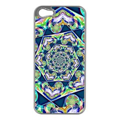 Power Spiral Polygon Blue Green White Apple Iphone 5 Case (silver) by EDDArt