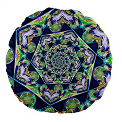 Power Spiral Polygon Blue Green White Large 18  Premium Round Cushions