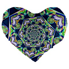Power Spiral Polygon Blue Green White Large 19  Premium Heart Shape Cushions by EDDArt