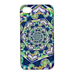 Power Spiral Polygon Blue Green White Apple Iphone 4/4s Hardshell Case With Stand by EDDArt