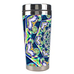 Power Spiral Polygon Blue Green White Stainless Steel Travel Tumblers by EDDArt