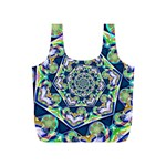 Power Spiral Polygon Blue Green White Full Print Recycle Bags (S)  Back