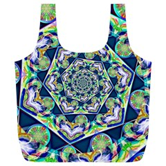 Power Spiral Polygon Blue Green White Full Print Recycle Bags (l)  by EDDArt