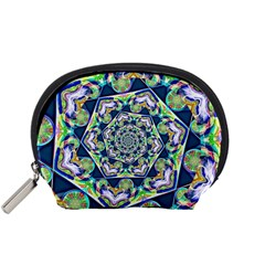 Power Spiral Polygon Blue Green White Accessory Pouches (small)  by EDDArt