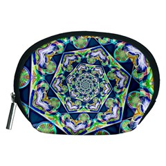 Power Spiral Polygon Blue Green White Accessory Pouches (medium)  by EDDArt