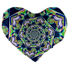 Power Spiral Polygon Blue Green White Large 19  Premium Flano Heart Shape Cushions by EDDArt