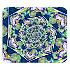 Power Spiral Polygon Blue Green White Double Sided Flano Blanket (small)  by EDDArt