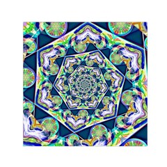 Power Spiral Polygon Blue Green White Small Satin Scarf (square) by EDDArt