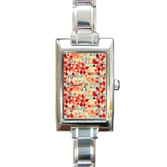 Modern Hipster Triangle Pattern Red Blue Beige Rectangle Italian Charm Watch by EDDArt