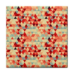 Modern Hipster Triangle Pattern Red Blue Beige Tile Coasters by EDDArt