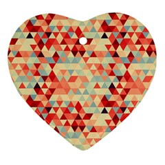 Modern Hipster Triangle Pattern Red Blue Beige Ornament (heart)  by EDDArt