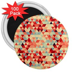 Modern Hipster Triangle Pattern Red Blue Beige 3  Magnets (100 Pack) by EDDArt