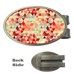 Modern Hipster Triangle Pattern Red Blue Beige Money Clips (oval)  by EDDArt