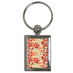 Modern Hipster Triangle Pattern Red Blue Beige Key Chains (rectangle)  by EDDArt