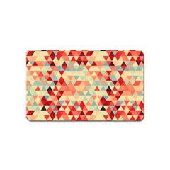 Modern Hipster Triangle Pattern Red Blue Beige Magnet (name Card) by EDDArt