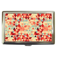 Modern Hipster Triangle Pattern Red Blue Beige Cigarette Money Cases by EDDArt