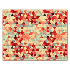 Modern Hipster Triangle Pattern Red Blue Beige Rectangular Jigsaw Puzzl by EDDArt