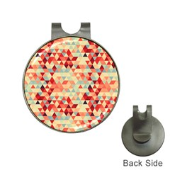 Modern Hipster Triangle Pattern Red Blue Beige Hat Clips With Golf Markers by EDDArt