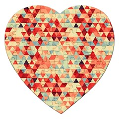 Modern Hipster Triangle Pattern Red Blue Beige Jigsaw Puzzle (heart) by EDDArt