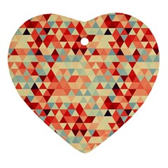 Modern Hipster Triangle Pattern Red Blue Beige Heart Ornament (2 Sides) by EDDArt