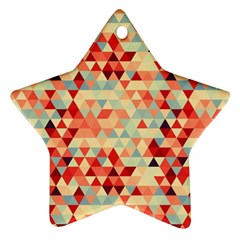 Modern Hipster Triangle Pattern Red Blue Beige Star Ornament (two Sides)  by EDDArt