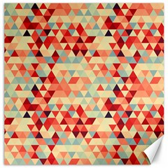 Modern Hipster Triangle Pattern Red Blue Beige Canvas 12  X 12   by EDDArt